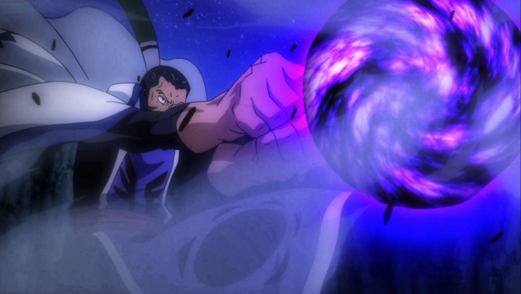Bluenote activating his Blackhole spell to kill Natsu