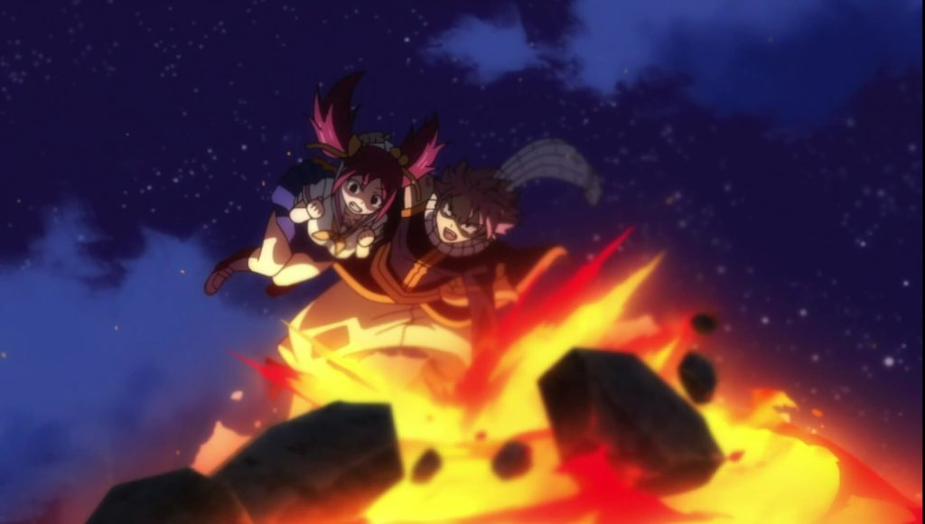 Natsu Saving Shelia Using his fire fist