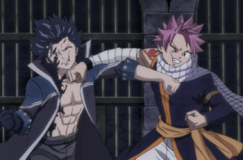 Natsu and Gray fighting