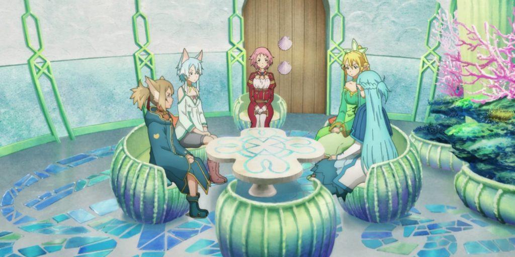 Asuna, shinonon, Liz, Suguha and Silica talking about Kirito's disappearance
