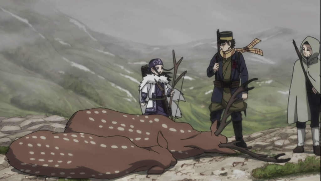 Asirpa tending Sugimoto's wound